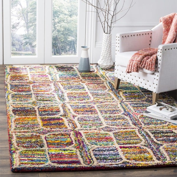 Safavieh Handmade Nantucket Modern Abstract Multicolored Cotton Rug - 8' x 10'