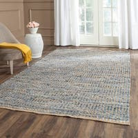 Safavieh Cape Cod Handmade Natural / Blue Jute Natural Fiber Rug - 6' Square