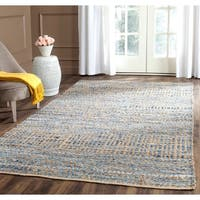 Safavieh Cape Cod Handmade Natural / Blue Jute Natural Fiber Rug - 6' x 6' Square