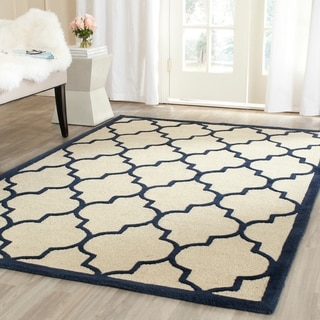 Safavieh Handmade Moroccan Cambridge Ivory/ Navy Wool Rug (9' x 12')