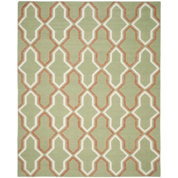Safavieh Hand-woven Dhurries Green/ Rust Wool Rug - 9' x 12'