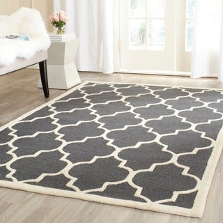 Safavieh Handmade Moroccan Cambridge Dark Grey/ Ivory Wool Rug (9' x 12')