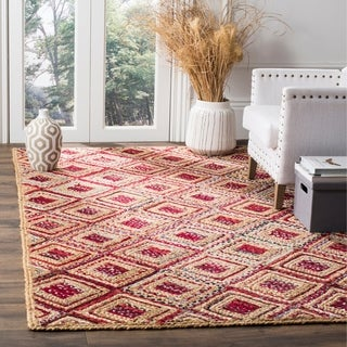Safavieh Cape Cod Handmade Natural / Red Jute Natural Fiber Rug (9' x 12')