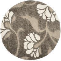 Safavieh Florida Shag Smoke/ Beige Floral Round Rug - 6'7 Round