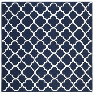 Safavieh Hand-woven Moroccan Dhurrie Navy Wool Rug (7' Square)