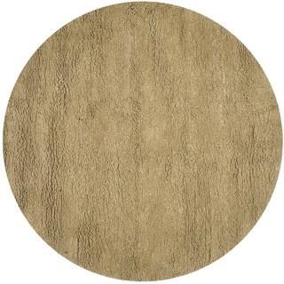 Safavieh Handmade Solid Classic Shag Khaki Wool Rug (8' Round)
