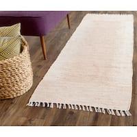 Safavieh Hand-woven Montauk Beige Cotton Rug - 2'3 x 9'