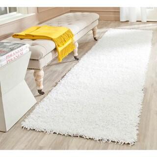 Safavieh Handmade Monterey Shag White Polyester Runner (2'3 x 8')