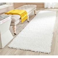 """Safavieh Handmade Monterey Shag White Polyester Runner - 2'3"""" x 8'"""