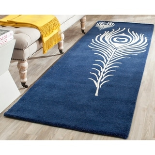 Safavieh Handmade Soho Navy/ Ivory New Zealand Wool/ Viscose Rug (2'6 x 8')