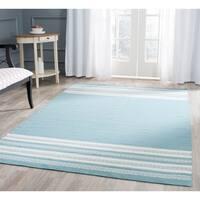 Safavieh Hand-woven Dhurries Turquoise Wool Rug - 4' x 6'