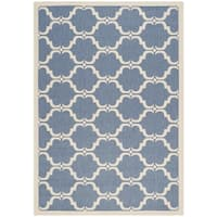 Safavieh Courtyard Moroccan Blue/ Beige Indoor/ Outdoor Rug - 5'3 x 7'7