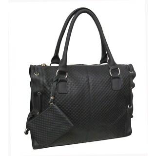 Amerileather 'Alpha' Black Cowhide Leather Tote Bag