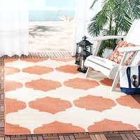 Safavieh Courtyard Poolside Beige/ Terracotta Indoor/ Outdoor Rug - 6'7 x 9'6
