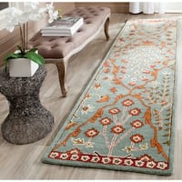 Safavieh Handmade Wyndham Blue/ Rust Wool Rug (2'3 x 9')