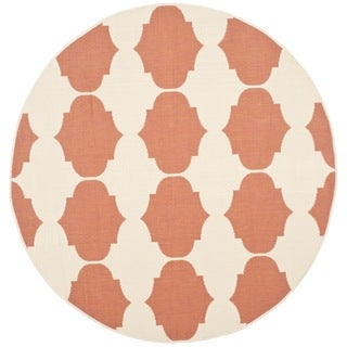 Safavieh Courtyard Poolside Beige/ Terracotta Indoor/ Outdoor Rug (5' 3 Round)
