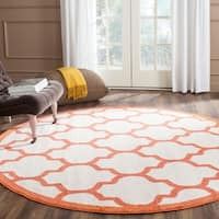 Safavieh Indoor/ Outdoor Amherst Beige/ Orange Rug - 7' Round