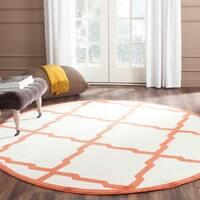 Safavieh Indoor/ Outdoor Amherst Beige/ Orange Rug - 7' Round