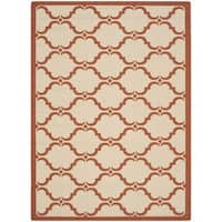 "Safavieh Courtyard Moroccan Beige/ Terracotta Indoor/ Outdoor Rug - 6'7"" x 9'6"""