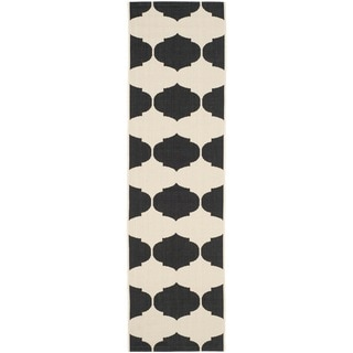 Safavieh Courtyard Poolside Beige/ Black Indoor/ Outdoor Rug (2'3 x 12')