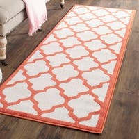 "Safavieh Indoor/ Outdoor Amherst Beige/ Orange Rug - 2'3"" x 11'"