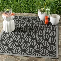Safavieh Courtyard Modern Geometric Black/ Anthracite Indoor/ Outdoor Rug (5'3 x 7'7) - 5'3 x 7'7