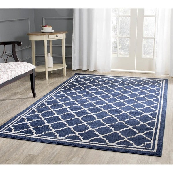 Indoor Outdoor Rugs Square: Shop Safavieh Indoor/ Outdoor Amherst Navy/ Beige Rug