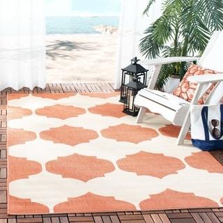 Safavieh Courtyard Poolside Beige/ Terracotta Indoor/ Outdoor Rug (5'3 x 7'7)