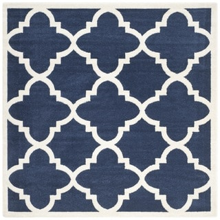 Safavieh Indoor/ Outdoor Amherst Navy/ Beige Rug (7' Square)