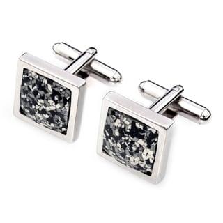 EJ Sutton Silvertone Black/ White Classic Square Marble Cufflinks (Israel)