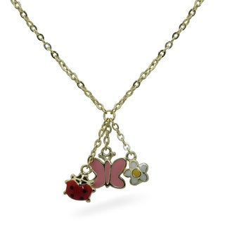 Junior Jewels Enamel Flower, Heart and Butterfly Pendant Necklace