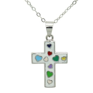 Junior Jewels Enamel Heart Cross (2 options available)