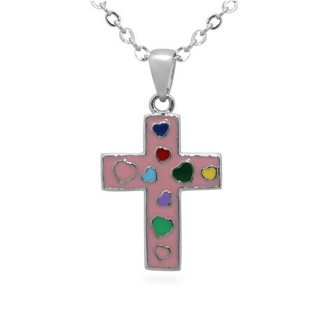 Junior Jewels Enamel Heart Cross