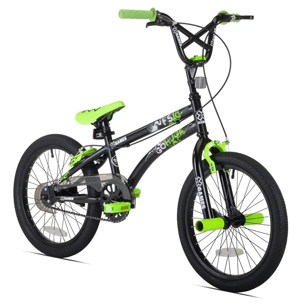 Kent X-Games FS18 Black/ Green 18-inch Boy's BMX Bike, Bl...