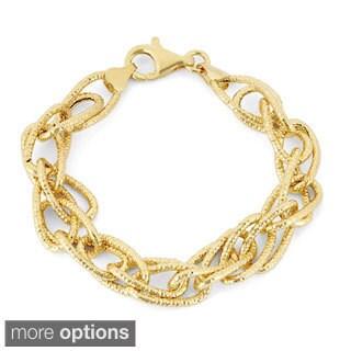 Gioelli Sterling Silver Diamond-cut Double Link Bracelet