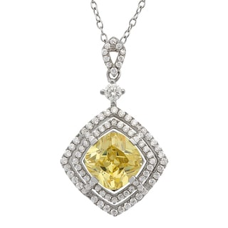 Gioelli Sterling Silver Canary and White Cubic Zirconia Diamond-shaped Necklace