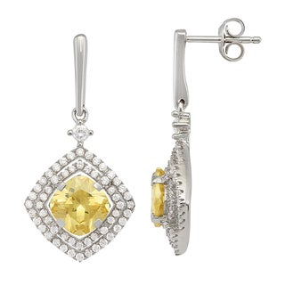 Gioelli Sterling Silver Diamond-cut Earrings with Canary and White Cubic Zirconia