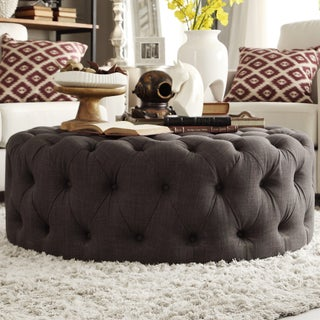 Knightsbridge Round Tufted Cocktail Ottoman with Casters by iNSPIRE Q Artisan (5 options available)