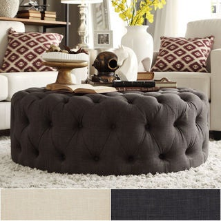 Knightsbridge Round Tufted Cocktail Ottoman with Casters by iNSPIRE Q Artisan