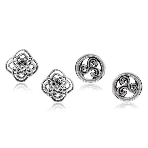 Journee Collection Sterling Silver Celtic Stud Earrings Set