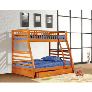 Wood Veneer Twin-over-full Bunk Bed with Under Drawers