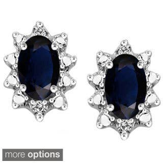 Silver Sapphire Gemstone and White Diamond Accent Earrings|https://ak1.ostkcdn.com/images/products/9576306/P16765526.jpg?impolicy=medium
