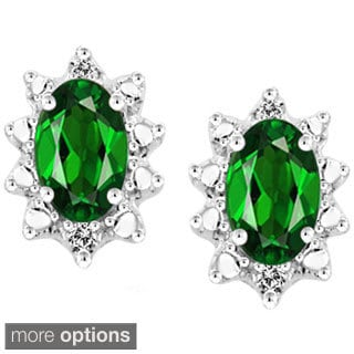 Silver Chrome Diopside Gemstone and White Diamond Accent Earrings