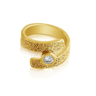 Belcho Textured Forever Band with Cubic Zirconia Center Ring
