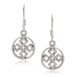 Journee Collection Sterling Silver Handcrafted Celtic Dangle Earrings