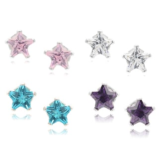 Journee Collection Sterling Silver Cubic Zirconia Star Stud Earrings (Set of 4)