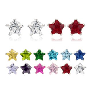 Journee Collection Sterling Silver CZ Set of 2 Star Stud Earrings