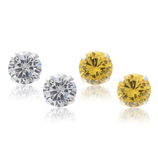Journee Collection Sterling Silver Cubic Zirconia Round Stud Earrings (Set of 2)