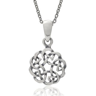 Journee Collection Sterling Silver Celtic Circle Pendant