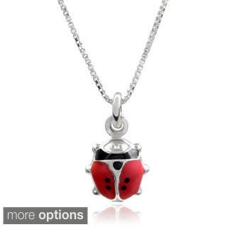 Journee Collection Sterling Silver Italian Lady Bug Pendant